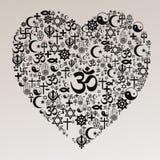 Forme de coeur de religions - hindouisme Photos stock