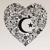 Forme de coeur de religions - l'Islam Photographie stock