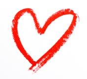 Forme de coeur de rouge à lèvres Photo stock