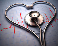Forme de coeur de stéthoscope Image stock