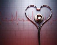 Forme de coeur de stéthoscope Photographie stock