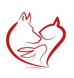 Forme de coeur de têtes de chien et de lapin de chat Image stock