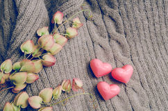 Forme de coeur de vintage sur la laine, concept d'amour de jour de valentines Image stock