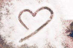 Forme de coeur de vintage sur la laine, concept d'amour de jour de valentines Images stock