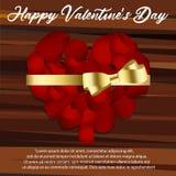 Forme de coeur des pétales rouges sur le fond blanc, illustration de vecteur Jour du ` s de Valentine avec de beaux pétales de ro Photographie stock libre de droits