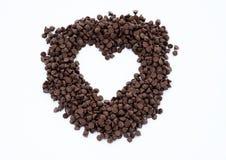 Forme de coeur des puces de chocolat Images stock
