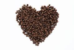 Forme de coeur des puces de chocolat Photographie stock libre de droits