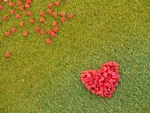 Forme de coeur faite à partir de la bougie sur l'herbe artificielle Photo libre de droits