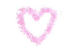 Forme de coeur faite à partir des pétales et des fleurs roses Photos stock