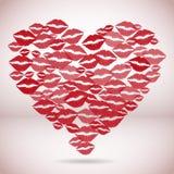 Forme de coeur faite avec des baisers d'impression Images libres de droits