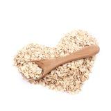Forme de coeur faite de farine d'avoine d'isolement Photo libre de droits