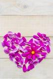 Forme de coeur de fleur étendue sur le fond en bois Image libre de droits
