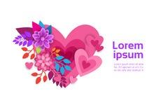 Forme de coeur de fleur sur le fond blanc avec l'espace Valentine Day Banner de copie Photos libres de droits