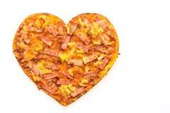 Forme de coeur de pizza Photos stock