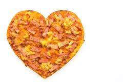 Forme de coeur de pizza Images libres de droits