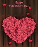 Forme de coeur de roses sur le vecteur en bois de fond Cartes de Valentine Day Photographie stock libre de droits
