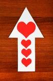 Forme de coeur sur la flèche Photographie stock libre de droits