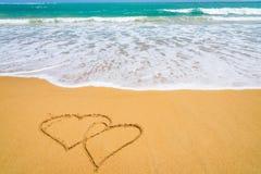 Forme de coeur sur la plage Photo libre de droits