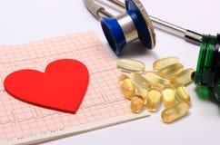 Forme de coeur sur le graphique et le stéthoscope d'électrocardiogramme avec des comprimés Image libre de droits
