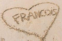 Forme de coeur sur le sable Image stock