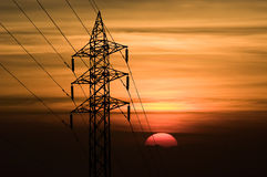 Forme de courrier de l'électricité de silhouette Images stock