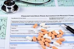Forme de demande d'autorisation préalable de médicaments délivrés sur ordonnance photo libre de droits