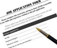 Forme de demande d'emploi Images stock