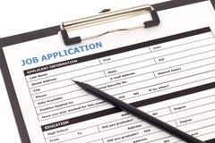 Forme de demande d'emploi Photos stock
