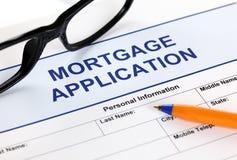 Forme de demande de prêt hypothécaire d'hypothèque Photographie stock