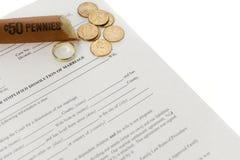 Forme de divorce avec le rouleau ouvert de penny Photo libre de droits