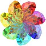 Forme de fleur composée de pierres gemmes colorées Images stock