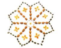 Forme de fleur d'écrous et de graines Photo stock