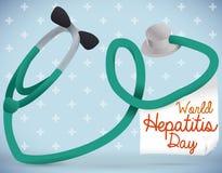 Forme de foie avec un stéthoscope pour célébrer le jour d'hépatite, illustration de vecteur illustration stock