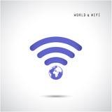 Forme de globe et signe de wifi Photo libre de droits