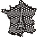 Forme de la France avec Tour Eiffel Photographie stock