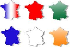 Forme de las etiquetas engomadas de Francia fijadas Fotos de archivo
