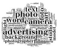 Forme de nuage de mot d'appareil-photo in camera Photo stock