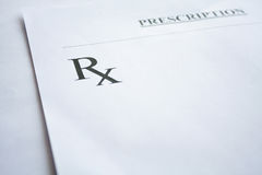 Forme de prescription de RX sur le blanc Images stock