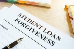 Forme de rémission de prêt d'étudiant photo libre de droits
