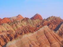 Forme de relief de montagne d'arc-en-ciel, Zhangye Danxia, Gansu, Chine photos stock