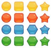 Forme dei bottoni fissate Fotografia Stock Libera da Diritti