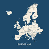 Forme dei paesi colorate mappa di Europa Fotografia Stock Libera da Diritti