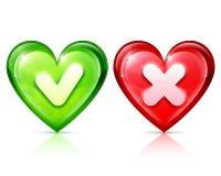 Forme del cuore con il segno di spunta e l'incrocio Immagini Stock Libere da Diritti