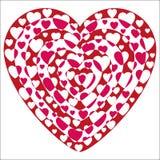 Forme del cuore del biglietto di S. Valentino escluse Fotografie Stock