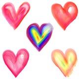 Forme del cuore di amore dell'acquerello Immagine Stock