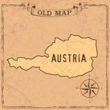 Forme della mappa e dei paesi dell'Austria di vecchio stile in annata illustrazione vettoriale