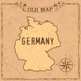 Forme della mappa e dei paesi della Germania di vecchio stile in annata royalty illustrazione gratis
