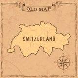 Forme della mappa e dei paesi della Svizzera di vecchio stile in annata illustrazione di stock