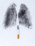 Forme des poumons avec la poudre de charbon de bois Photos stock