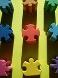 Forme di gomma di puzzle Fotografia Stock